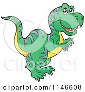 Cartoon Of A Green T Rex Dinosaur Royalty Free Vector Clipart