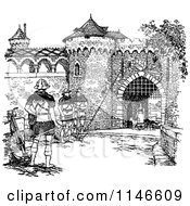 Clipart Of A Retro Vintage Black And White Fortress With Guards Royalty Free Vector Illustration