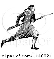 Clipart Of A Retro Vintage Black And White Soldier With A Bayonet Royalty Free Vector Illustration