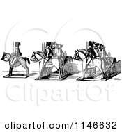 Clipart Of A Retro Vintage Black And White Border Of Toy Soldiers On Horses Royalty Free Vector Illustration by Prawny Vintage