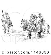 Clipart Of A Retro Vintage Black And White Boys Playing Soldiers Royalty Free Vector Illustration