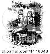 Clipart Of A Retro Vintage Black And White Shy Courting Couple On A Bench Royalty Free Vector Illustration