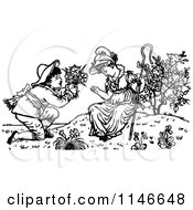Clipart Of A Retro Vintage Black And White Boy Offering Flowers To A Girl Royalty Free Vector Illustration