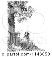 Clipart Of A Retro Vintage Black And White Woman In A Tree Over A Couple Royalty Free Vector Illustration