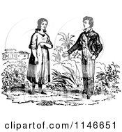 Clipart Of A Retro Vintage Black And White Young Courting Couple Royalty Free Vector Illustration