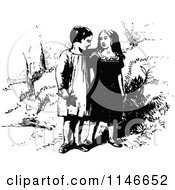 Clipart Of A Retro Vintage Black And White Young Strolling Couple Royalty Free Vector Illustration