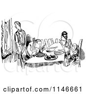 Clipart Of A Retro Vintage Black And White Couple Dining Royalty Free Vector Illustration by Prawny Vintage