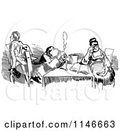Clipart Of A Retro Vintage Black And White Couple Dining 3 Royalty Free Vector Illustration by Prawny Vintage
