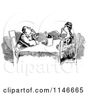 Clipart Of A Retro Vintage Black And White Couple Drinking Champagne Royalty Free Vector Illustration by Prawny Vintage