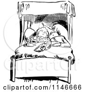 Clipart Of A Retro Vintage Black And White Couple Sleeping Royalty Free Vector Illustration