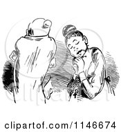 Clipart Of A Retro Vintage Black And White Couple With A Rosary Royalty Free Vector Illustration