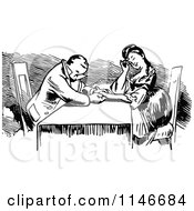 Clipart Of A Retro Vintage Black And White Romantic Couple Holding Hands At A Table Royalty Free Vector Illustration