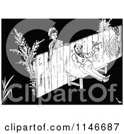 Clipart Of A Retro Vintage Black And White Woman Looking At A Grumpy Man On The Other Side Of A Fence Royalty Free Vector Illustration