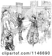 Clipart Of A Retro Vintage Black And White Couple Dancing At A Ball Royalty Free Vector Illustration