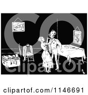 Clipart Of A Retro Vintage Black And White Woman Tying Her Husbands Tie Royalty Free Vector Illustration