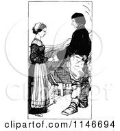 Clipart Of A Retro Vintage Black And White Couple Holding Hands In A Village Royalty Free Vector Illustration by Prawny Vintage