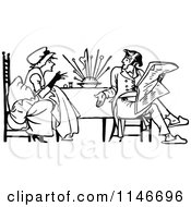 Clipart Of A Retro Vintage Black And White Couple Having A Discussion At A Table Royalty Free Vector Illustration by Prawny Vintage