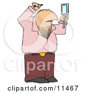 Man Combing His Hair And Using A Hand Mirror Clipart Illustration