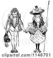 Clipart Of A Retro Vintage Black And White Bowing Couple Royalty Free Vector Illustration
