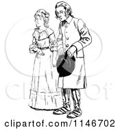 Clipart Of A Retro Vintage Black And White Couple Royalty Free Vector Illustration by Prawny Vintage