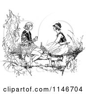 Clipart Of A Retro Vintage Black And White Couple Having A Picnic Royalty Free Vector Illustration