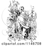 Clipart Of A Retro Vintage Black And White Couple On A Garden Ladder Royalty Free Vector Illustration