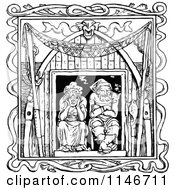 Clipart Of A Retro Vintage Black And White Old Couple In A Window Royalty Free Vector Illustration by Prawny Vintage