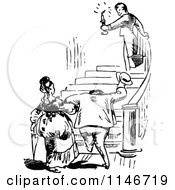 Clipart Of A Retro Vintage Black And White Man Leading A Couple Up Hotel Stairs Royalty Free Vector Illustration