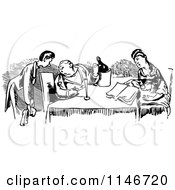 Clipart Of A Retro Vintage Black And White Waiter And Couple Royalty Free Vector Illustration