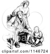 Clipart Of A Retro Vintage Black And White Family And Boy Reading Royalty Free Vector Illustration