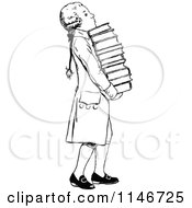 Clipart Of A Retro Vintage Black And White Wig Boy Carrying Books Royalty Free Vector Illustration by Prawny Vintage