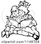 Clipart Of A Retro Vintage Black And White Brother And Sister Reading Royalty Free Vector Illustration