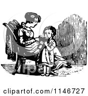Clipart Of A Retro Vintage Black And White Girl Reading To Her Mom Royalty Free Vector Illustration