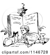 Clipart Of A Retro Vintage Black And White Girl And Cat Reading A Giant Book Royalty Free Vector Illustration by Prawny Vintage