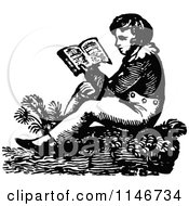 Clipart Of A Retro Vintage Black And White Boy Reading Royalty Free Vector Illustration by Prawny Vintage