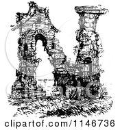 Clipart Of A Retro Vintage Black And White Alphabet Letter N Ruins Royalty Free Vector Illustration