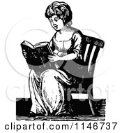 Clipart Of A Retro Vintage Black And White Lady Reading Royalty Free Vector Illustration by Prawny Vintage