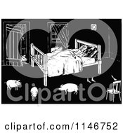 Clipart Of A Retro Vintage Black And White Man Sleeping With Pigs In His Room Royalty Free Vector Illustration