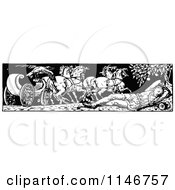 Clipart Of A Retro Vintage Black And White Border Of A Sleeping Man And Horse Carriage Royalty Free Vector Illustration