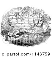 Clipart Of A Retro Vintage Black And White Girl Napping In A Garden Royalty Free Vector Illustration