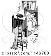 Clipart Of A Retro Vintage Black And White Man Sleeping In A Bed Royalty Free Vector Illustration