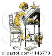 Clipart Of A Retro Vintage Yellow Girl Writing At A Desk Royalty Free Vector Illustration by Prawny Vintage
