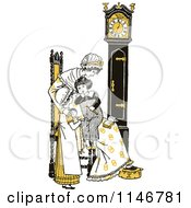 Clipart Of A Retro Vintage Mother And Children By A Clock In Yellow Tones Royalty Free Vector Illustration by Prawny Vintage