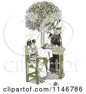 Clipart Of A Retro Vintage Mother And Daughter Having Tea Outside In Green Tones Royalty Free Vector Illustration