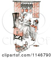 Clipart Of A Retro Vintage Mother And Son Sewing And Playing In Orange Tones Royalty Free Vector Illustration by Prawny Vintage