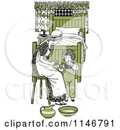 Clipart Of A Retro Vintage Mother And Son Washing Up In Green Tones Royalty Free Vector Illustration by Prawny Vintage