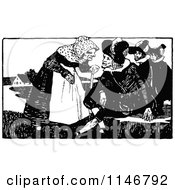 Clipart Of A Retro Vintage Black And White Old Lady And Three Men Royalty Free Vector Illustration