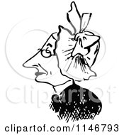 Clipart Of A Retro Vintage Black And White Old Woman Wearing A Hat Royalty Free Vector Illustration