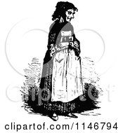 Clipart Of A Retro Vintage Black And White Old Woman Royalty Free Vector Illustration
