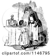 Clipart Of A Retro Vintage Black And White Girl Showing Her Granny Her Puppet Royalty Free Vector Illustration